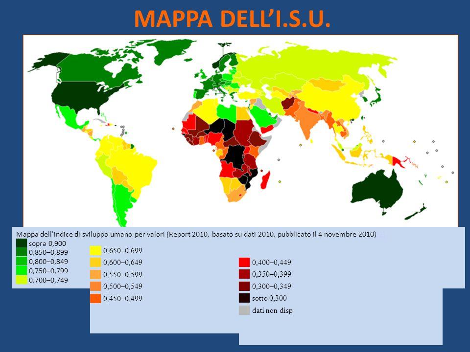 MAPPA DELL'I.S.U. Mappa dell indice di sviluppo umano per valori (Report 2010, basato su dati 2010, pubblicato il 4 novembre 2010)[2]